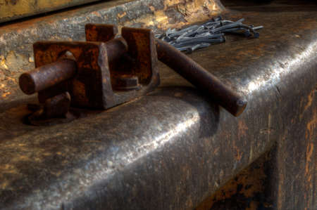 hitch: nails on rustet old metal block tow hitch