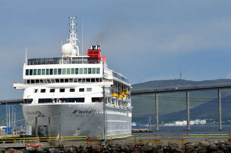 cruiseship: huge cruiseship in tromsoe harbour Editorial