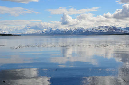 reflective fjord and snowy mountain summer landscape photo