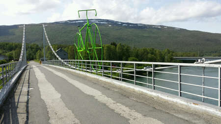 metal: Huge green metal bicycle on bridge, arctic race of Norway bicycle race