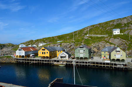 house float on water: majestic old village of Nyksund in summer in vesteraalen northern Norway