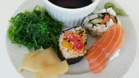 up: Sushi platter on white close up