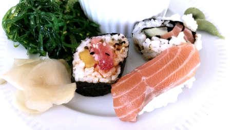 soysauce: Sushi platter on white close up