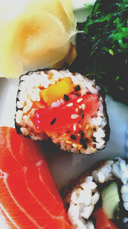 soysauce: Sushi on plate close up Stock Photo