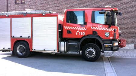rescue service: Red fire rescue service truck Stock Photo