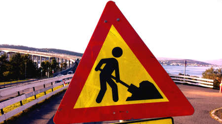man: Man at work sign