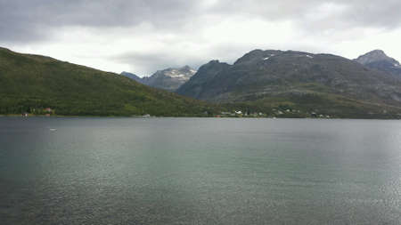 dark: Blue fjord and mountain landscape nature