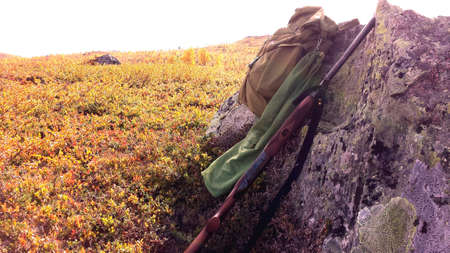 red: Grouse hunting on autumn mountain with sunshine backpack shotgun and grouse resting on boulder