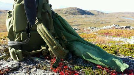red: Escopeta en la mochila verde y urogallo p�jaro en red de caza con tel�n de fondo paisaje de monta�a en oto�o