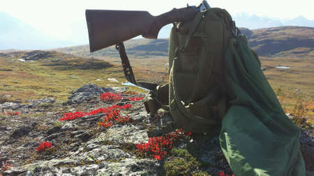 red: Shotgun on green backpack and grouse bird in hunting net with mountain landscape backdrop in autumn
