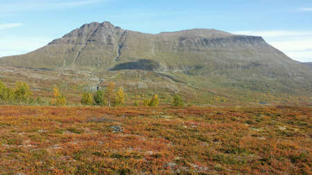 view: Majestic and colourful autumn mountain landscape in the arctic circle on a sunny day Stock Photo