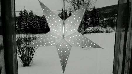 glow: Cold christmas star in window with snowy forest background black and white