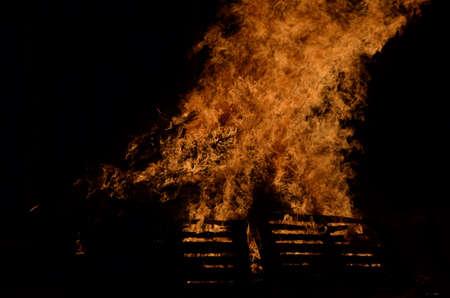 winter night: beautiful bonfire in dark winter night