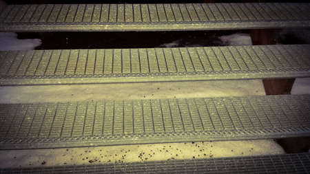 metal: Metal staircase in winter with snow