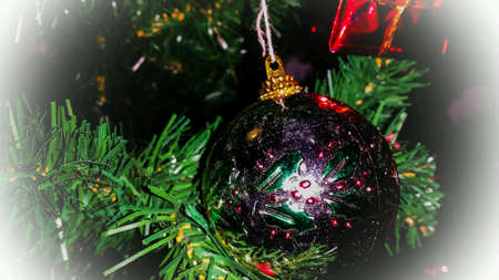 shiny: Shiny christmas ball decor on christmas tree