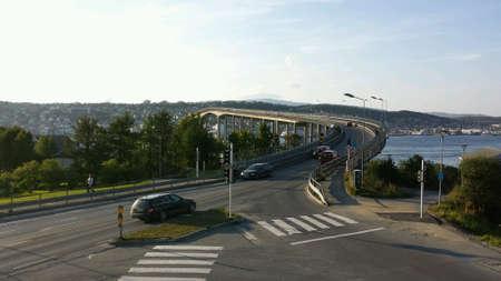 no body: Intersection with bridge Stock Photo