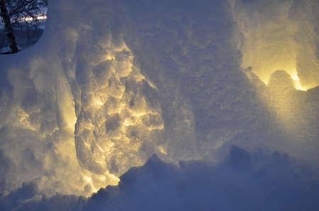 illuminated: illuminated snow wall in winter