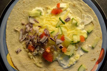 taco tortilla: tortilla taco dinner plate on kitchen table Stock Photo