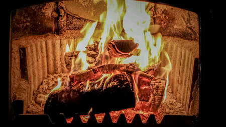 glow: Hot burning birch wood logs in fireplace on cold winter day