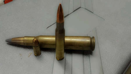 9mm ammo: Different sized ammunition on plastic case