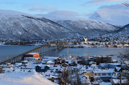 tromso city in wintertime with snow and sunshine overivew photo february 7th 2016