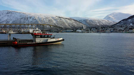 rescue boat docked in tromso harbor at february 20th, 2016