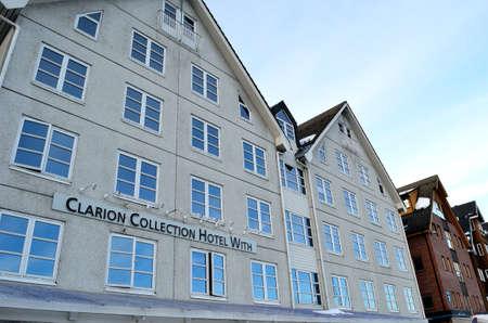 pijamada: Hotel Clarion con la ciudad de Tromsoe 20 de february el año 2016