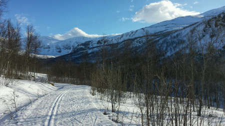 excersise: Cross country skii trail surrounded by mountains and clear blue sunny sky