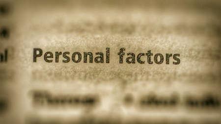 factors: Personal factors text on paper