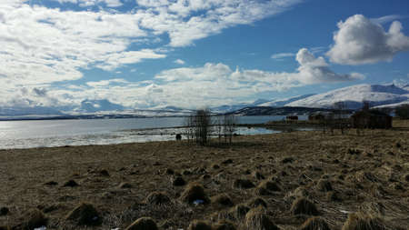 bumpy: Brown bumpy grassy field with blue fjord and snowy mountain backdrop