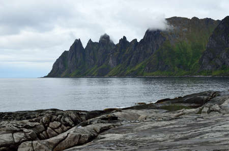 jagged: the beautiful jagged mountain of Okshornan on senja island in summer