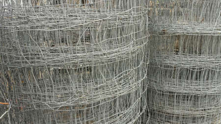fencing wire: Metal wire stacks background texture Stock Photo