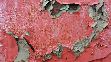 flaking: Old flaking weathered red metal paint background texture