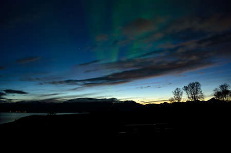 faint aurora borealis dancing over fjord and trees