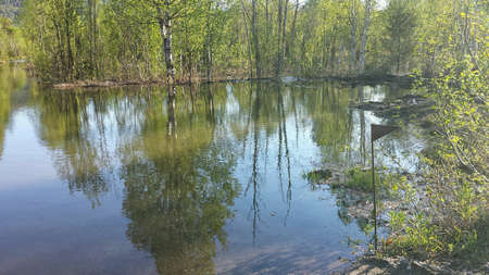 Flooded river in forest and submerged dirt road, annual flood Stock Photo