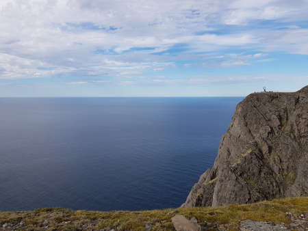 Beautiful ocean and cliff view from the north cape, northern norway