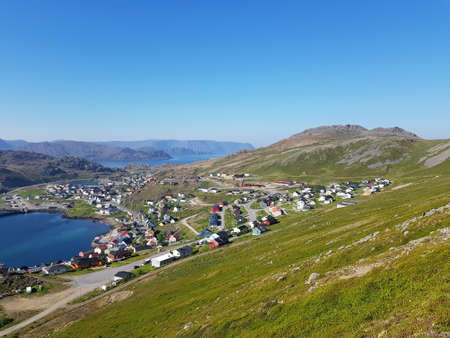 Overview photo of Honningsvaag on the island of Magerøya on a sunny day Standard-Bild