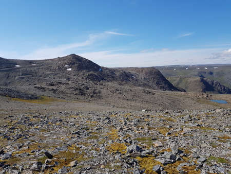 Long distance mountain view on Mageroya, northcape county, Honningsvaag