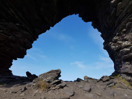 The majestic church gate rock formation on Mageroya, northern Norway 写真素材