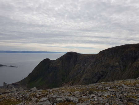 Majestic mountain and sea view on the Mageroy island, north cape county