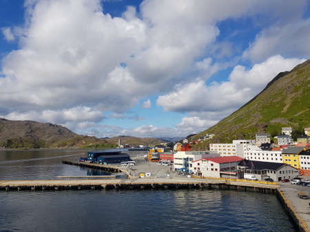 HONNINGSVAAG, NORWAY - JUNE 2018 - Honningsvaag city center on a calm cloudy day