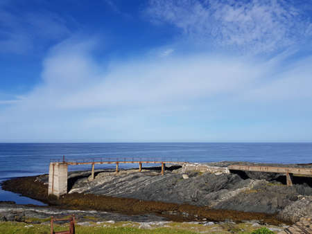 majestic sea and land view in bright sunshine, finnmark norway Stock Photo
