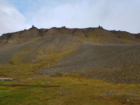 lush green mountain landscape on svalbard