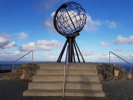 Nordkapp, northcape, monument on blue sky background