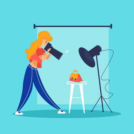Woman photographer taking picture of fashionable female handbag Illustration
