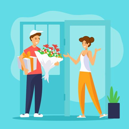 Smiling delivery man is handing flowers bouquet and gift box to a girl at her home.