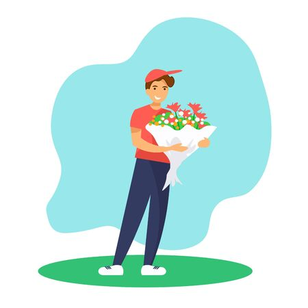 Smiling courier boy holding flowers bouquet. Flower delivery service concept.