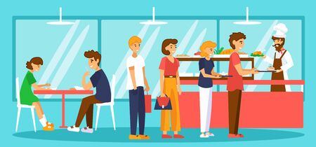 Food court or self-service canteen. People with trays are in queue. Flat vector illustration.