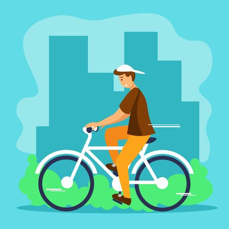 Man riding bicycle in city. Concept of cycling, outdoor, healthy, activity. Eco-friendly transport. Flat cartoon vector illustration.