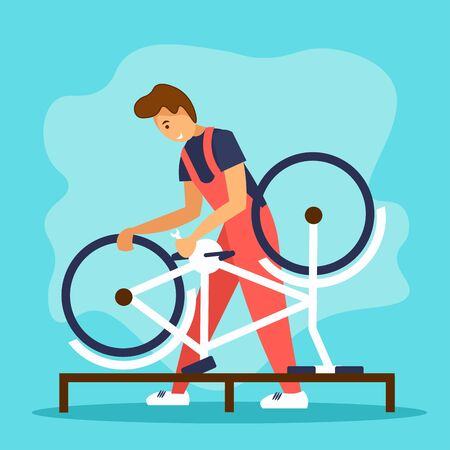 Serviceman repairing a bicycle in bike workshop. Bicycle repair service concept. Flat vector illustration with cartoon character. Vector Illustration